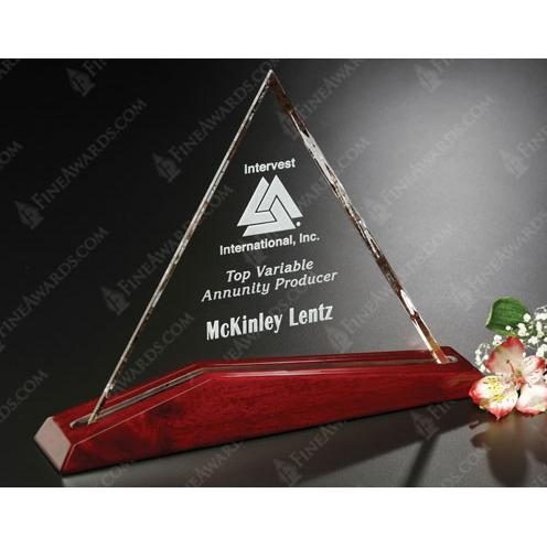 Parkdale Optical Crystal Triangle Trophy on Luster Base