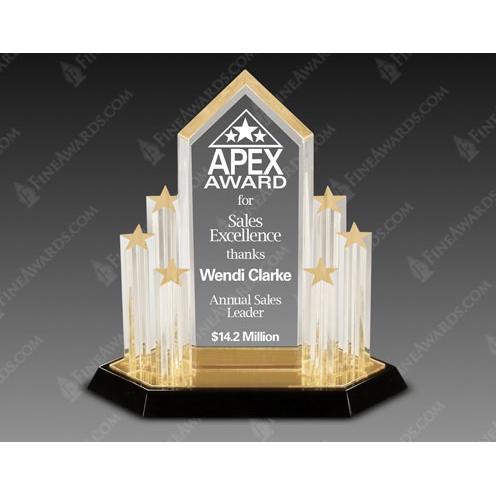 Stellar Performance Acrylic Award with Gold Stars
