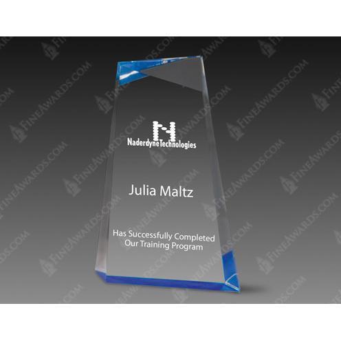 Blue Wedge Clear Acrylic Award