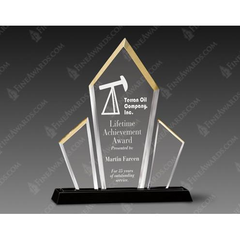 Lumins Clear Acrylic Award with Gold Accent