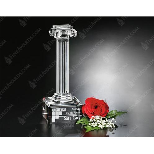 Ionic Clear Optical Crystal Column Trophy