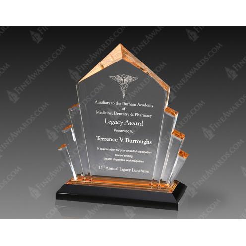 Gold Arrow Acrylic Award on Black Base