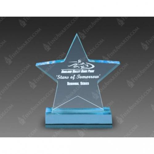 Blue Acrylic Star Award on Blue Base
