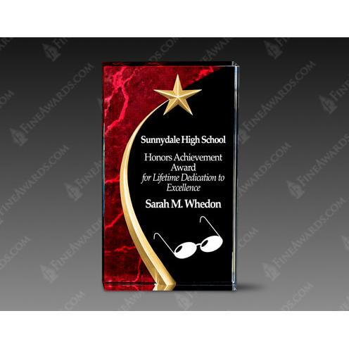 Red Carved Acrylic Award with Gold Star