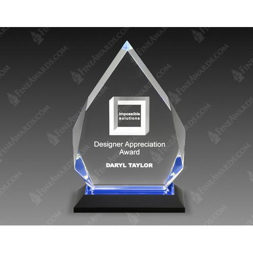 Blue Diamond Acrylic Award on Black Base