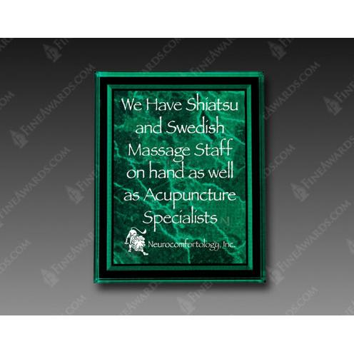Green Optical Crystal Square Plaque