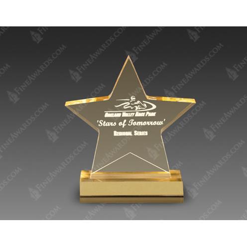Gold Acrylic Star Award on Gold Base