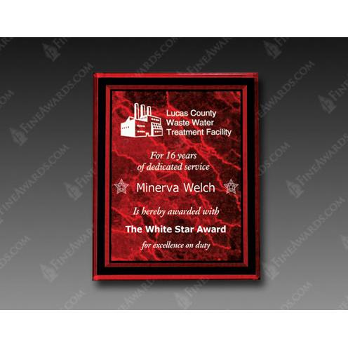 Red Optical Crystal Square Plaque