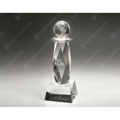 Clear Crystal Ultimate Globe Trophy
