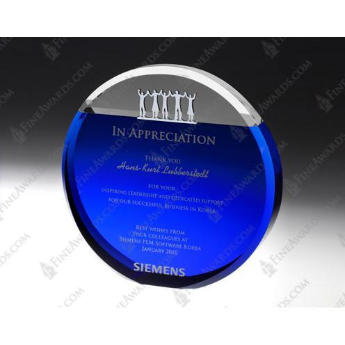 Blue Optical Crystal Together Circle Award