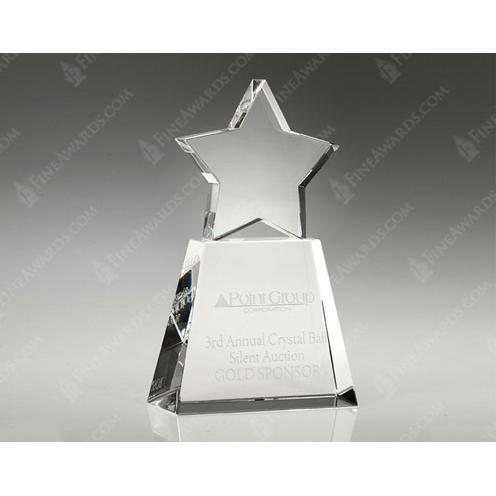 Clear Crystal Star with Clear Base