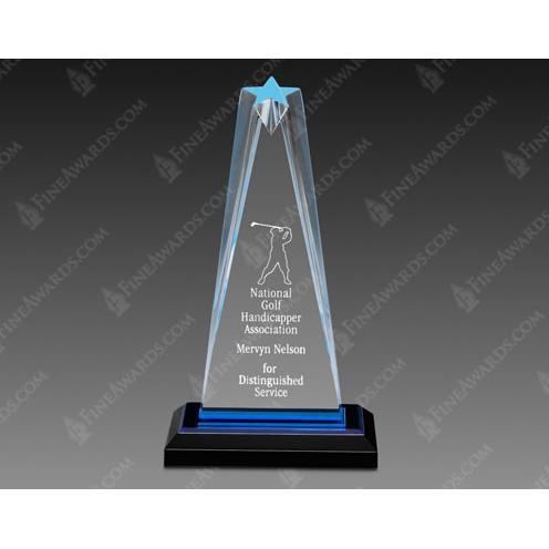 Blue Zenith Star Acrylic Award on Black Base
