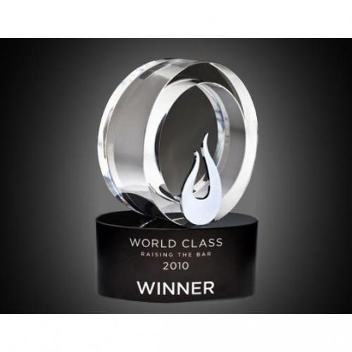 Clear Optical Crystal & Metal Flame Award on Black Optical Crystal Base