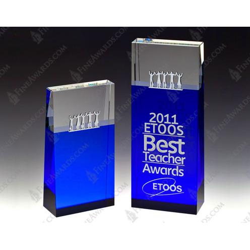 Blue Optical Crystal Together Block Tower
