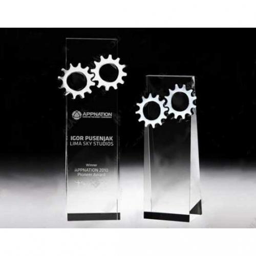 Clear Crystal Gear Tower Trophy