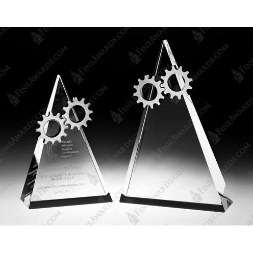 Clear Crystal Gear Top Award