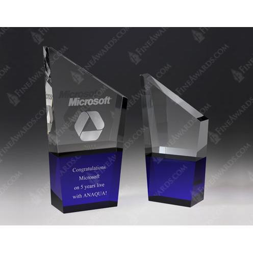 Blue & Clear Optical Crystal K2 Award
