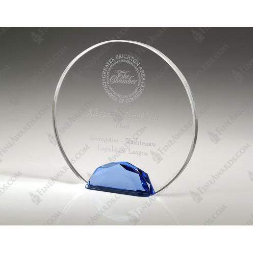Clear & Blue Crystal Jeweled Halo Award