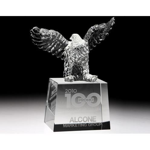 Clear Optical Crystal Rising Eagle Award