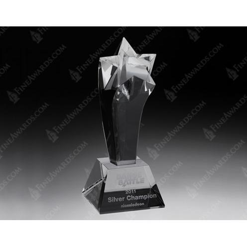 Clear Crystal Power Star Trophy