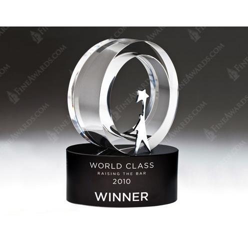 Clear Optical Crystal & Metal Star Award on Black Optical Crystal Base