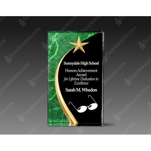 Green Carved Acrylic Award with Gold Star
