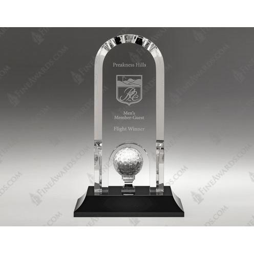 Clear Crystal Golf Optima Arch Award on Black Base