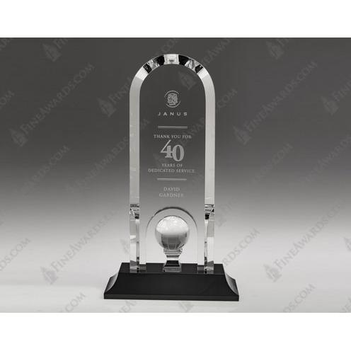 Clear Crystal Globe Optima Arch Award on Black Base