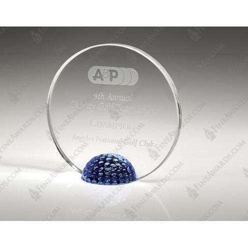 Clear & Blue Crystal Golf Halo Award