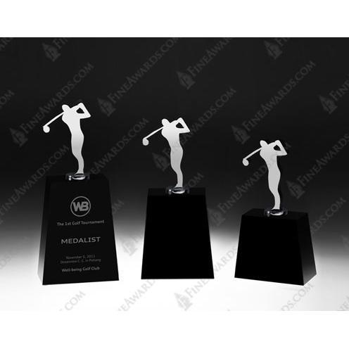 Metal Super Golfer Award on Jet Black Crystal Base