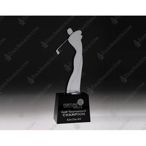 Golf Master Metal Award on Crystal Black Base