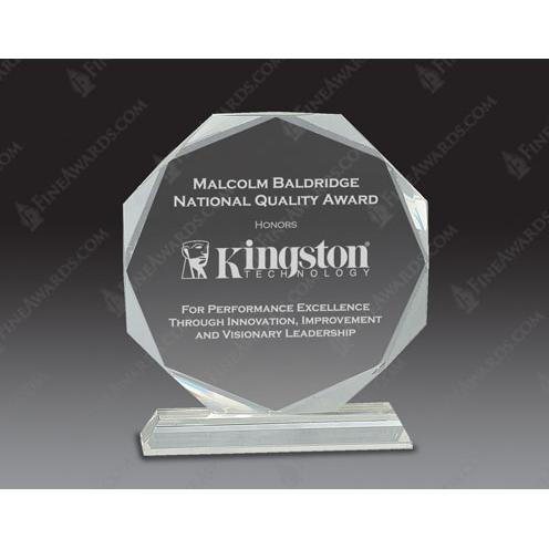 Clear Optical Crystal Octagon Award