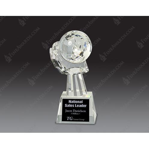 Clear Optical Crystal Globe in Hand Award