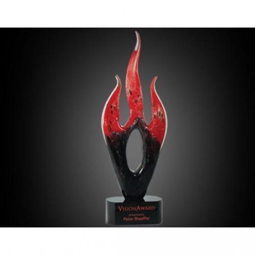 Red & Black Optical Crystal Flame Award