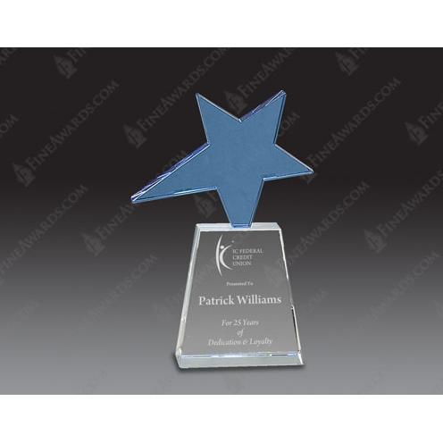 Blue Star Optical Crystal Award on Clear Base