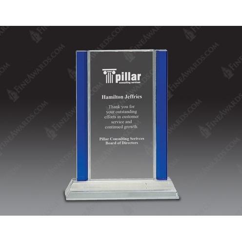Clear & Blue 2-Edge Optical Crystal Award