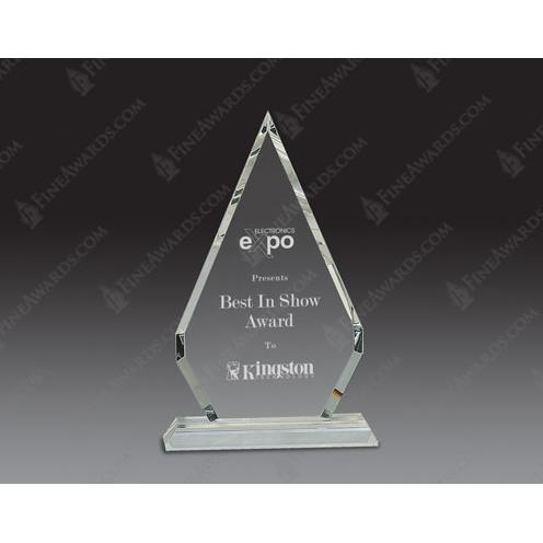 Clear Optical Crystal Diamond Pedestal Award