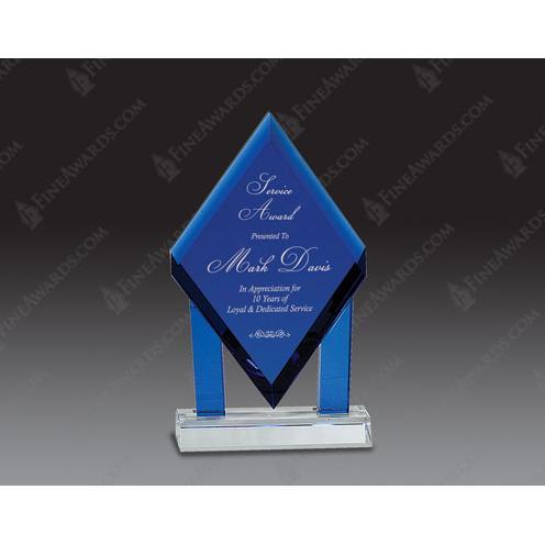 Blue Optical Crystal Floating Diamond Award
