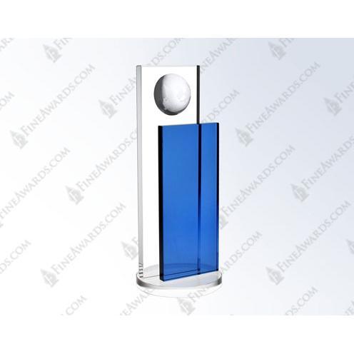 Clear & Blue Optical Crystal Endeavor Globe Award