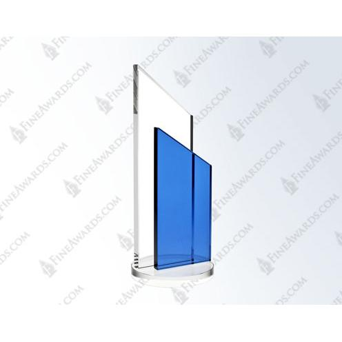 Clear & Blue Crystal Horizontal Success Award