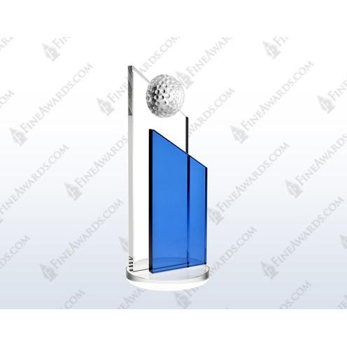 Clear & Blue Crystal Success Golf Award