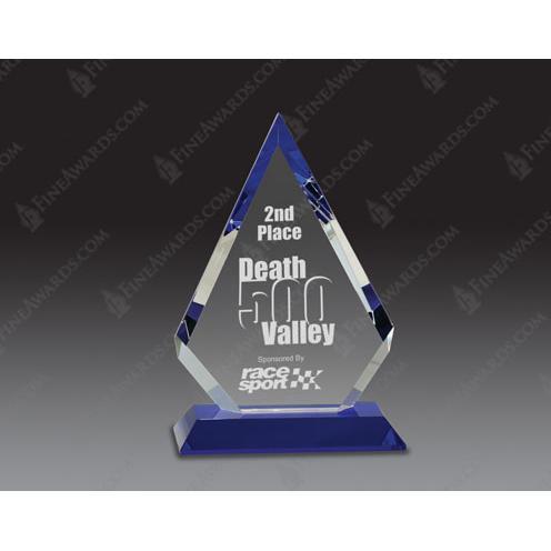 Optical Crystal Diamond Award on Blue Pedestal
