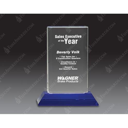 Optical Crystal Cylinder Award on Blue Pedestal