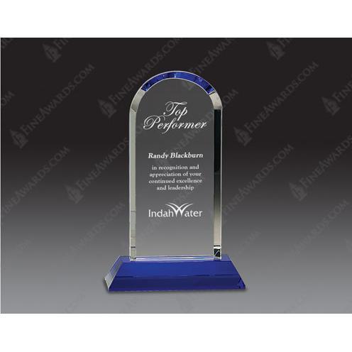 Optical Crystal Dome Award on Blue Pedestal