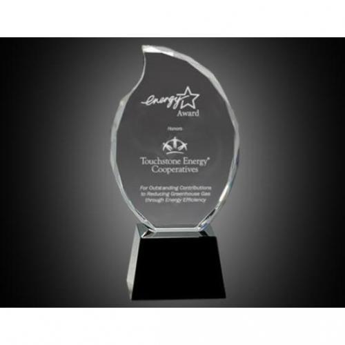 Clear Optical Crystal Flame Award on Black Pedestal