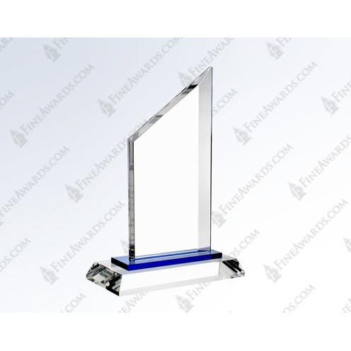 Clear & Blue Optical Crystal Sail 2 Plaque