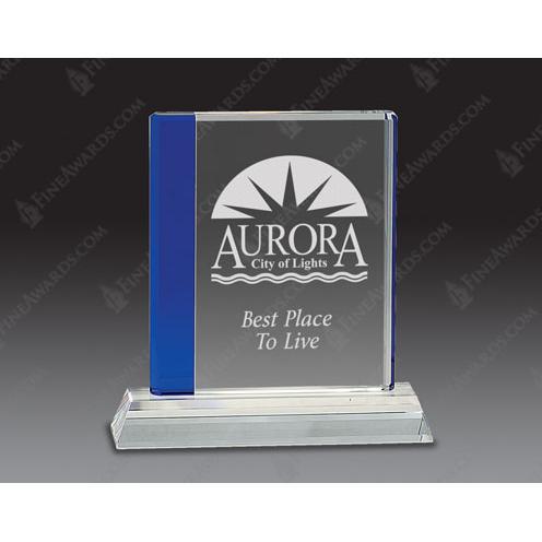 Clear & Blue Edge Optical Crystal Award