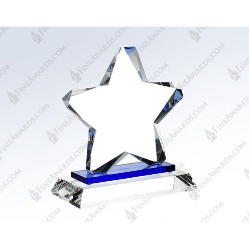 Optical Crystal Blue Twinkle Star Award