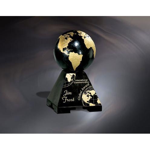 Global Ebony Stone Globe Award with Gold Accent