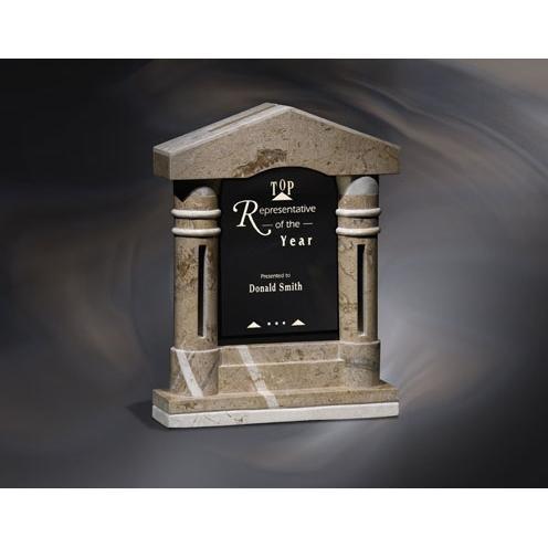 Ambassador Stone Pillar Award with Black Glass Inset